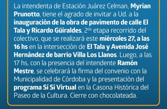 Invitación Estación Juárez Celman  - Myrian Prunotto - Ramón Mestre