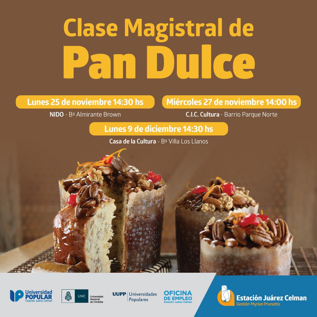 Placa Clases Magistrales de Pan Dulce estacion juarez celman gestion myrian prunotto