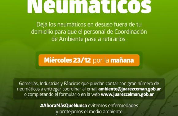Campaña de Recolección de Neumáticos Estación Juárez Celman 2020 Gestión Myrian Prunotto